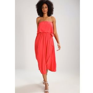 GAP coral hula strapless crepe dress size medium